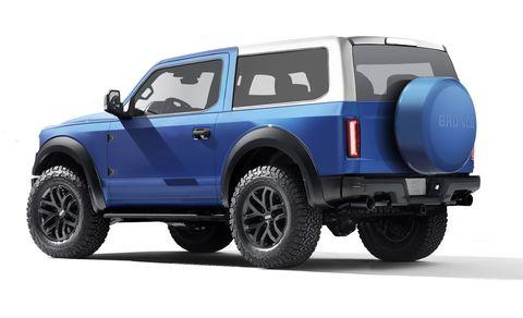 Ford Bronco 2021 azul vista frontal